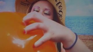 Orange Balloon Blowing with Goddess Lana With POP